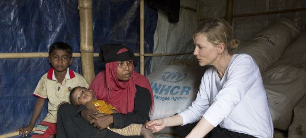 Cate Blanchett, durante su visita a los refugiados rohingyas en