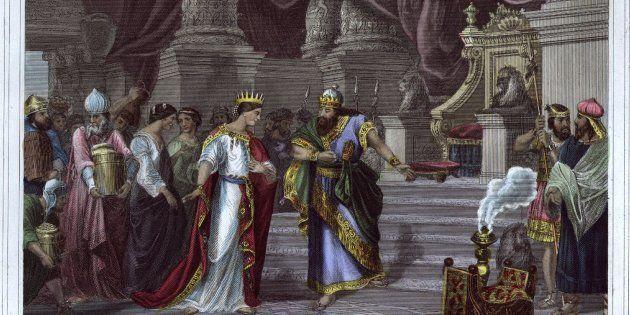 Grabado del rey Salomón recibiendo la visita de la reina de