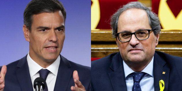 El presidente de España, Pedro Sánchez, y el president catalán, Quim