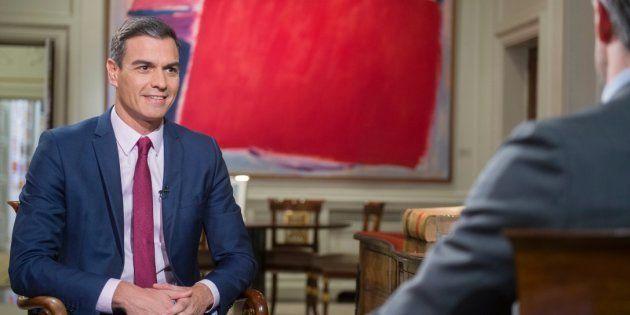 Pedro Sánchez, durante su entrevista en RTVE el 18 de febrero de