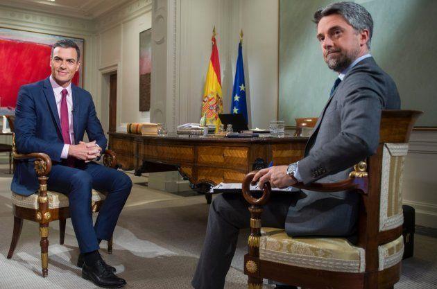 Pedro Sánchez, entrevistado por Carlos Franganillo (TVE) en La