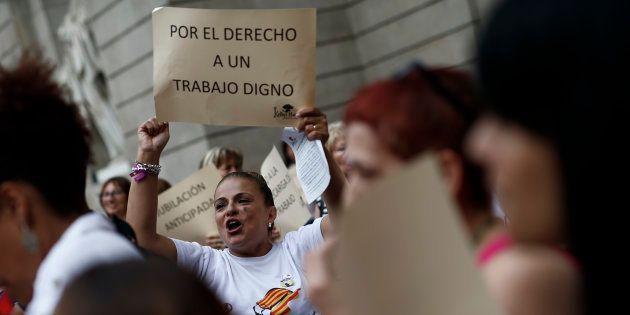 Protesta de las 'kellys' en Barcelona, el pasado 25 de
