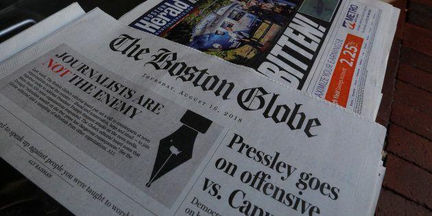 Portada de 'The Boston Globe' del pasado 16 de agosto, con el editorial contra los ataques de Donald...