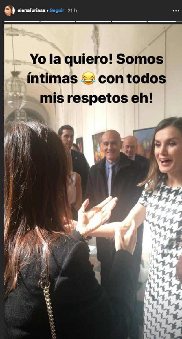 La foto que resume el efusivo encuentro de Elena Furiase con la reina