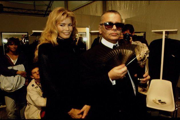 Claudia Schiffer y Karl Lagerfeld, en