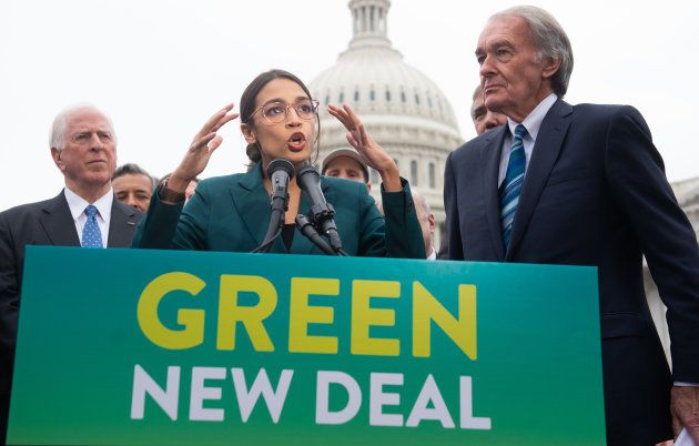 Ocasio-Cortez, durante un acto del Green New Deal en Washington el 7 de