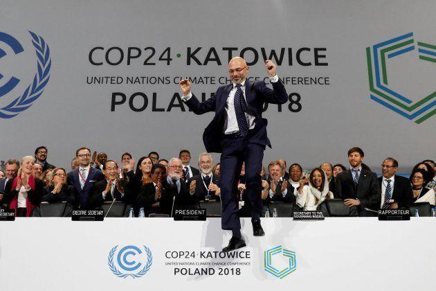 La reacción de Michal Kurtyka, presidente de la XXIV Conferencia de las Partes del Cambio Climático celebrada...
