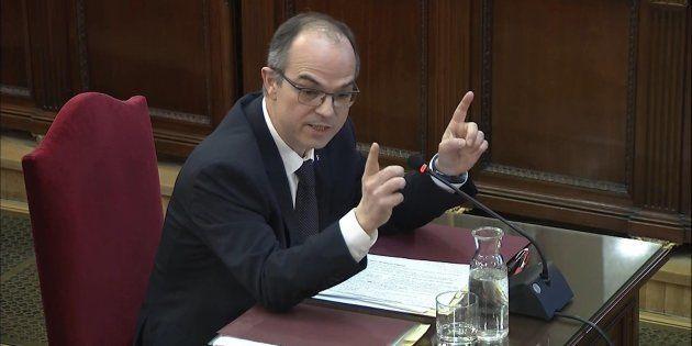 El exconseller de Presidencia y exportavoz del Govern, Jordi Turull, durante su declaración en el Tribunal