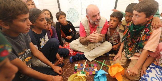 Fran Equiza, representante de UNICEF en Siria, el pasado agosto en el campo de refugiados internos de...