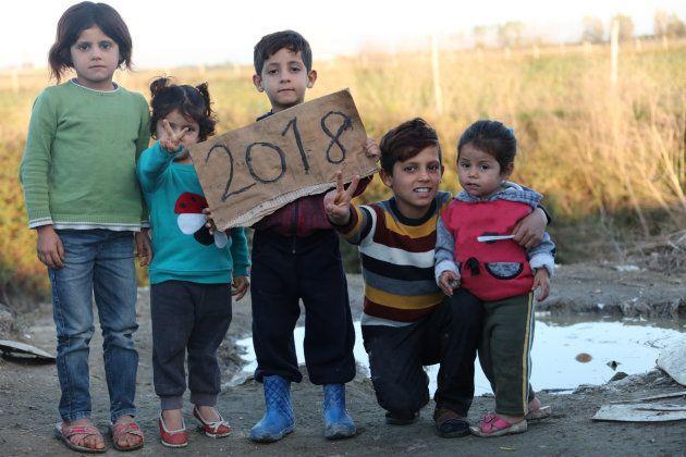 Niños en un campo de refugiados en