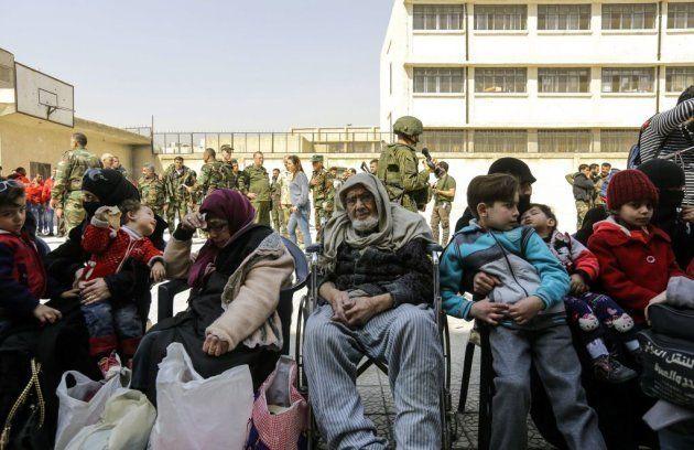 Civiles evacuados de la zona de Guta (Siria, marzo