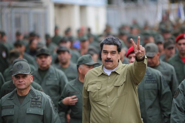 Venezuela's President Nicolas Maduro gestures during a meeting with soldiers at a military base in Caracas,...