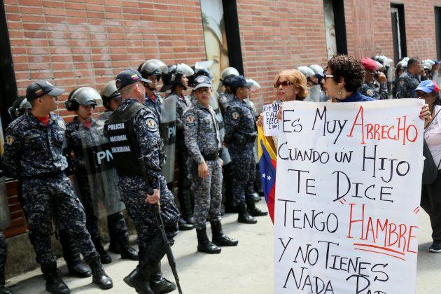CARACAS, VENEZUELA - JANUARY 30: People protest outside Dr. JM de los Rios' Children's Hospital while...