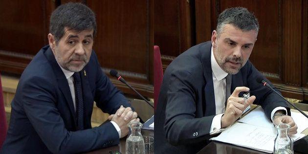 Jordi Sànchez y Santi Vila, durante sus comparecencias de hoy en el