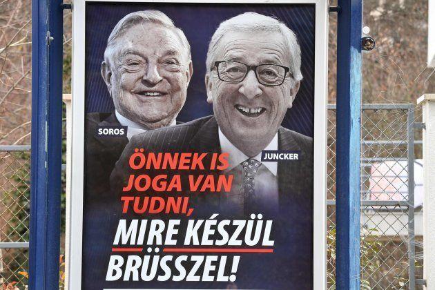 El cartel publicado por Hungría contra Juncker y la