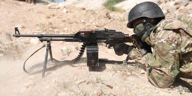 Imagen de archivo de un soldado en la ciudad siria de