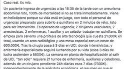 Indignación con el comentario que hizo un paciente tras un tratamiento caro en la sanidad