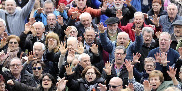 Imagen de la manifestación de pensionistas en Bilbao del pasado día 12 de