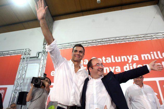 Pedro Sánchez y Miquel Iceta en un acto de