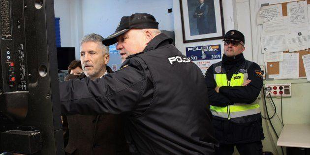 El ministro del Interior, Fernando Grande-Marlaska en su visita a