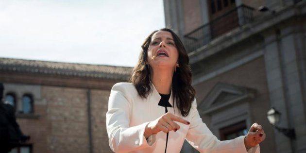 La líder de Ciudadanos en Cataluña, Inés Arrimadas, durante su intervención este sábado en un acto en...