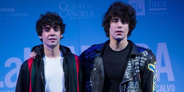 Javier Ambrossi y Javier Calvo, Los Javis, en la premiere de 'La Llamada' en el Teatro Lara de