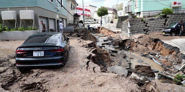 Las consecuencias del terremoto en en Chitose, Hokkaido