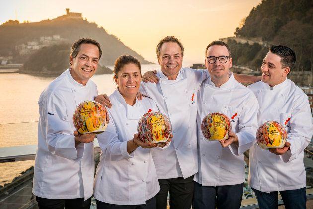 Los chefs Sergio Torres, Maca Castro, Javier Torres, Paco Morales y Alberto Ferruz, premiados con los...