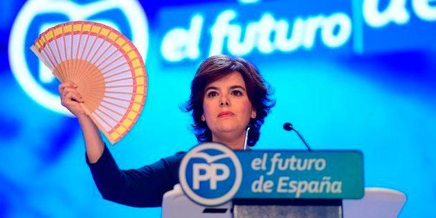 Soraya Sánez de Santamaría, el pasado mes de julio, en un acto durante las primarias del