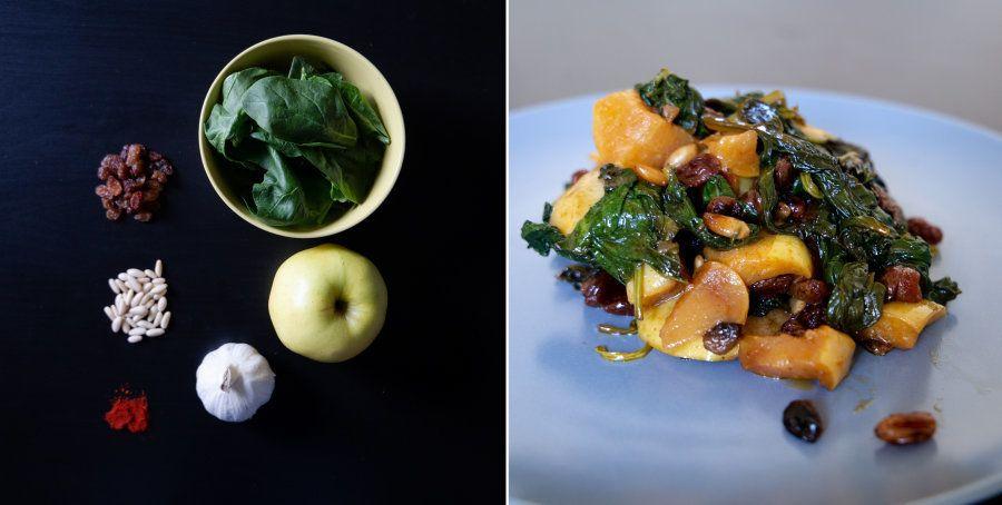 Recetas fáciles: espinacas con manzana y