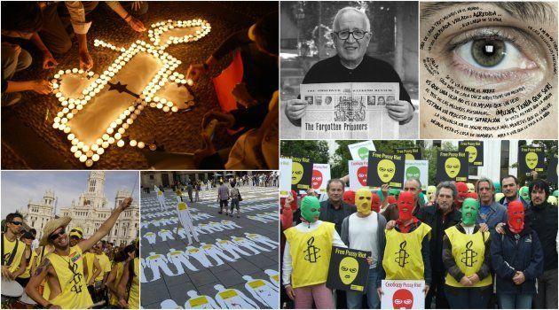 Imágenes de algunas de las campañas promovidas por Amnistía Internacional en estas cuatro