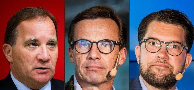 El primer ministro saliente Stefan Loefven (izq), el líder conservador Ulf Kristersson (centro) y el...