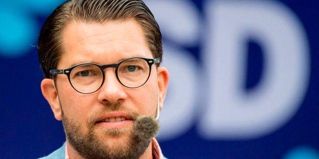El líder del SD, Jimmie Åkesson, durante un acto de