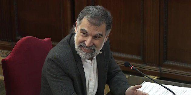 El presidente de Òmnium Cultural, Jordi Cuixart, durante su declaración en el Tribunal