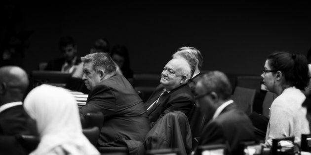 Miguel Ángel Moratinos (centro) participa en el 8º Foro Global de la Alianza de Civilizaciones de la...