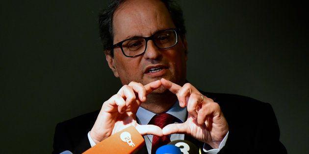 Quim Torra, durante una rueda de prensa en Berlín, el pasado mayo, en una visita a su antecesor, Carles