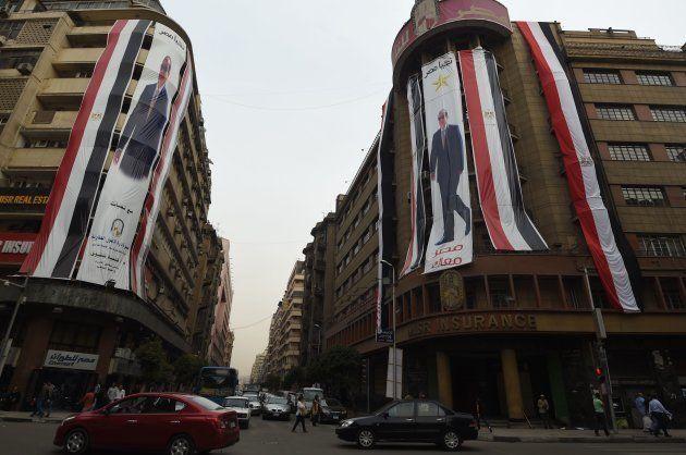 Carteles electorales de Al Sisi en el centro de la capital egipcia, El