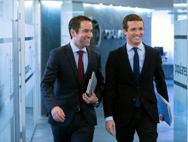Pablo Casado, presidente del PP, y Teodoro García Egea, secretario general del PP, a su llegada al Comité...