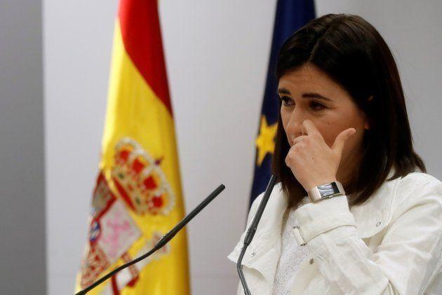 La ministra de Sanidad, Consumo y Bienestar Social, Carmen Montón, en la rueda de prensa celebrada este
