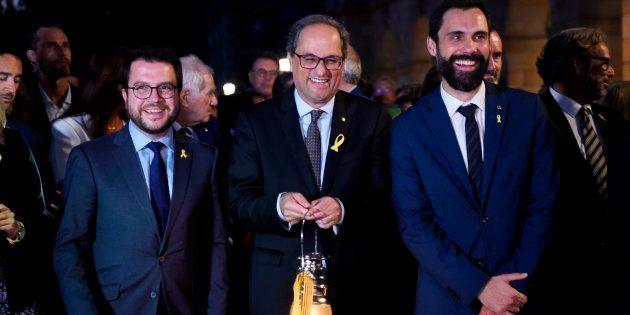 El presidente de la Generalitat, Quim Torra, junto al presidente del Parlament de Cataluña,Roger
