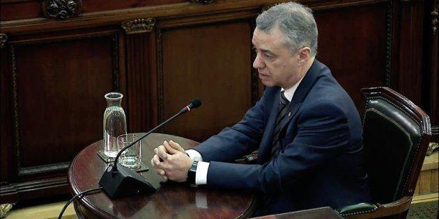 El lehendakari Iñigo Urkullu, durante su declaración como testigo en el juicio del procés en el Tribunal