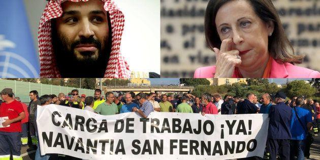 El príncipe Salman, heredero de Arabia Saudí; la ministra de Defensa de España, Margarita Robles, y los...