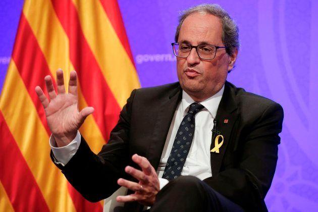 Quim Torra durante la conferencia de prensa con corresponsales extranjeros en el Palacio de la Generalitat...