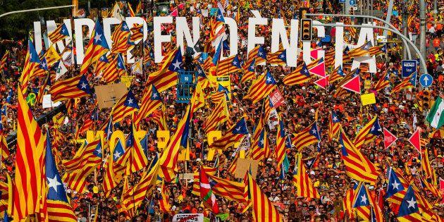 La manifestación de la Diada de Cataluña en Barcelona este