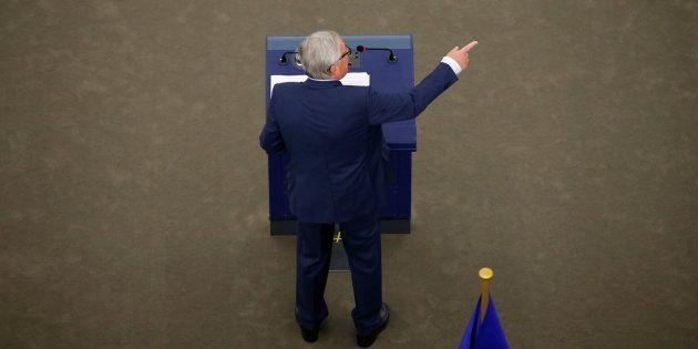El presidente de la Comisión Europea, Jean-Claude Juncker, durante el pleno en