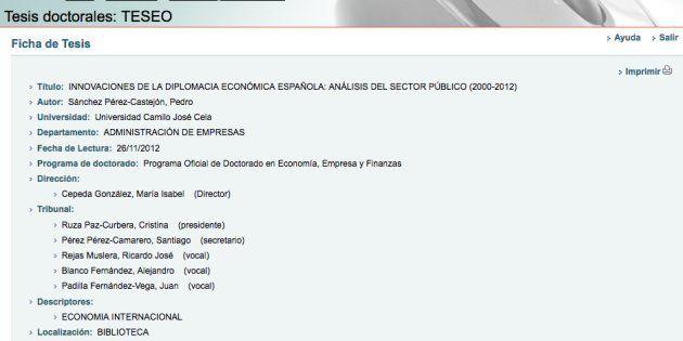 En la web de TESEO está la ficha de la tesis de Sánchez pero no su