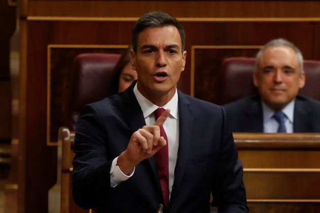 El presidente del Gobierno, Pedro Sánchez, durante su intervención en el