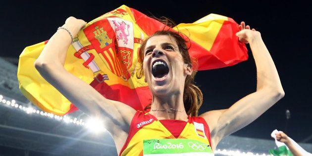 Ruth Beitia, celebrando su oro en los juegos de Río, en
