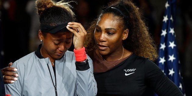 Naomi Osaka y Serena Williams, tras la final del US