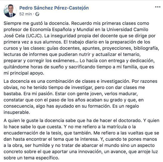Pedro Sánchez hará pública su tesis doctoral este